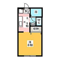 アンダンテ東岡山B棟[1階]の間取り