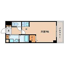 近鉄京都線 大和西大寺駅 徒歩26分の賃貸マンション 2階1Kの間取り