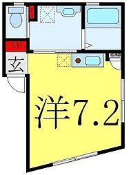JR山手線 池袋駅 徒歩11分の賃貸マンション 2階ワンルームの間取り