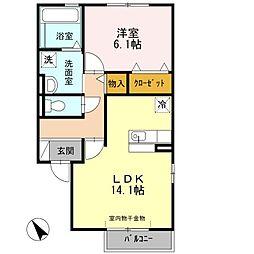 愛知県名古屋市緑区鳴海町字神ノ倉の賃貸アパートの間取り