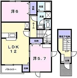 愛知県岡崎市渡町字能光の賃貸アパートの間取り