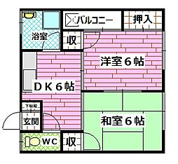 広島県安芸郡府中町八幡3丁目の賃貸アパートの間取り