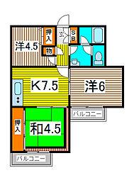 秋本マンション[503号室]の間取り