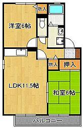 ディアコート西田A棟 2階2LDKの間取り