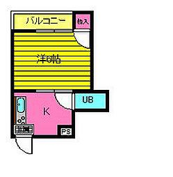 谷垣マンション 3階1Kの間取り