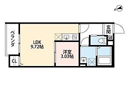 JR阪和線 鳳駅 徒歩10分の賃貸アパート 3階1LDKの間取り