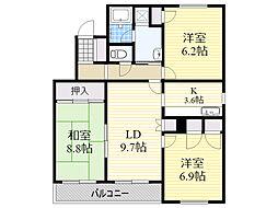 北海道札幌市中央区南20条西7丁目の賃貸マンションの間取り