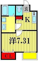 アフェット松戸大橋 1階1Kの間取り