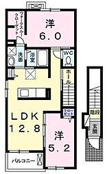シェアーフォレストII[2階]の間取り