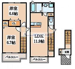大阪府東大阪市三島2丁目の賃貸アパートの間取り