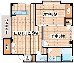 兵庫県神戸市中央区野崎通2丁目の賃貸マンションの間取り