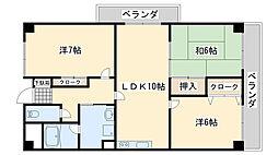 大阪府泉佐野市中町3丁目の賃貸マンションの間取り