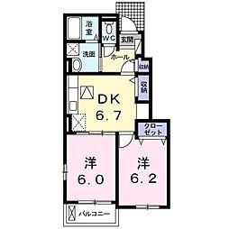 埼玉県春日部市東中野の賃貸アパートの間取り