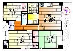 千里ツインハイツI[3階]の間取り