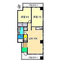 Aラコント 北棟[4階]の間取り