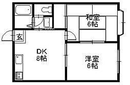 「ルミエール」〜全室角部屋 ショッピングセンター近く〜[201号室]の間取り