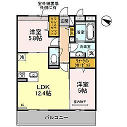 大阪府堺市中区深井北町の賃貸アパートの間取り