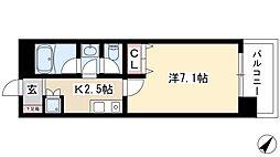 CASAα名駅南 8階1Kの間取り