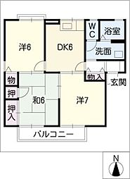 エスポワールK[1階]の間取り