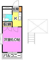 東京都東久留米市新川町2丁目の賃貸アパートの間取り