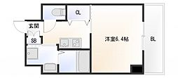 Osaka Metro御堂筋線 大国町駅 徒歩6分の賃貸マンション 2階1Kの間取り