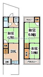 [テラスハウス] 大阪府大東市北条1丁目 の賃貸【/】の間取り