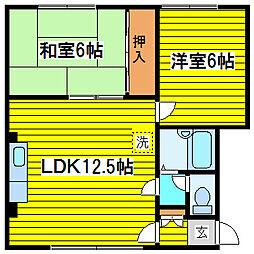 北海道札幌市東区北十一条東14丁目の賃貸アパートの間取り