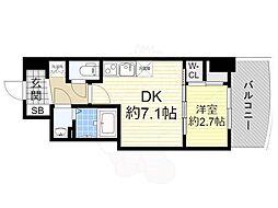 阪神なんば線 桜川駅 徒歩1分の賃貸マンション 14階1DKの間取り