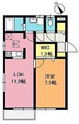 埼玉県上尾市向山2丁目の賃貸アパートの間取り