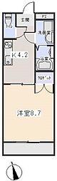 愛知県岡崎市若松町字向山の賃貸アパートの間取り