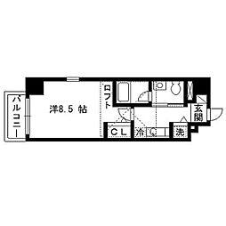 パルティーレEXE片平タワー 14階1Kの間取り