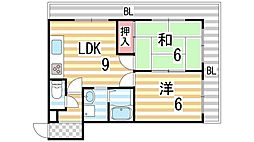 エステート野崎[6階]の間取り