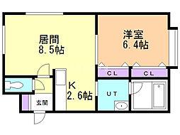 コスモ南郷 4階1LDKの間取り