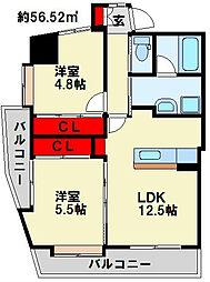 コンプレート富士見[11階]の間取り