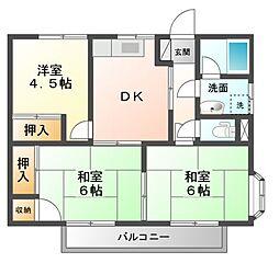 コーポラスセーラムB棟[2階]の間取り