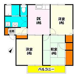 埼玉県草加市柳島町の賃貸アパートの間取り