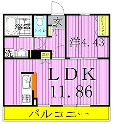 エクシード新松戸[203号室]の間取り