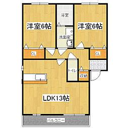 スタシオン東野・アクシスD棟[2階]の間取り