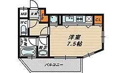 アクティコートクリスタル京橋 3階ワンルームの間取り