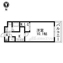 京阪本線 中書島駅 徒歩2分の賃貸マンション 2階1Kの間取り