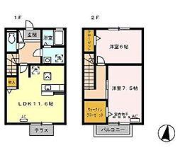 [テラスハウス] 広島県福山市手城町4丁目 の賃貸【/】の間取り