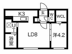 仮)北15東7MS 3階1LDKの間取り