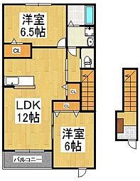 アヴニールB[2階]の間取り