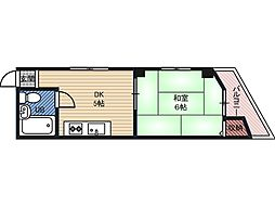 マンションウィート 3階1DKの間取り