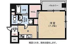 広島電鉄2系統 猿猴橋町駅 徒歩11分の賃貸マンション 4階1Kの間取り