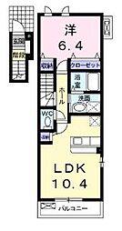 ソレイユ IIA 2階1LDKの間取り