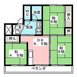 ビレッジハウス南中津川 2号棟[1階]の間取り
