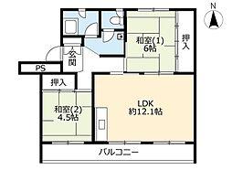 UR花川中央 3階2LDKの間取り