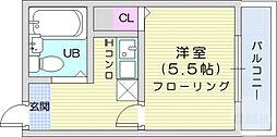 AOBA62 3階1Kの間取り