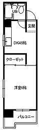 小倉第二鳳城ビル[701号室]の間取り